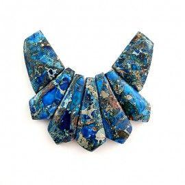 Perles jaspe bleu et turquoise