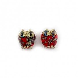 2 petites perles hiboux rouges