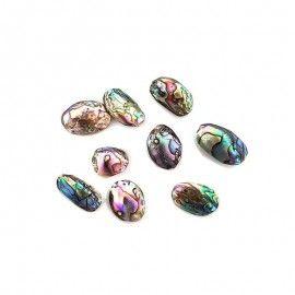 9 perles de coquillage ovales en nacre abalone