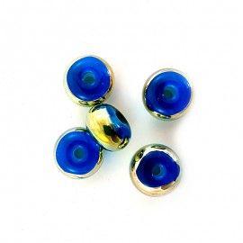 5 perles en verre bleu et dore