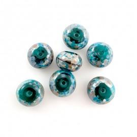 7 perles en verre vert