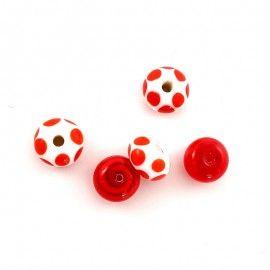 5 perles en verre rouge et blanc