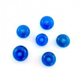 Lot perles en verre bleu