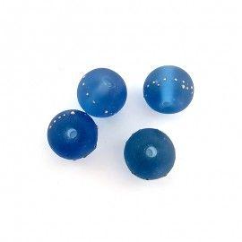 Lot perles en verre bleu et or