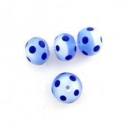 4 perles en verre bleu