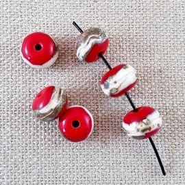 Lot de 6 perles de verre rouge