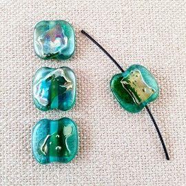 Lot de 6 perles en verre vert