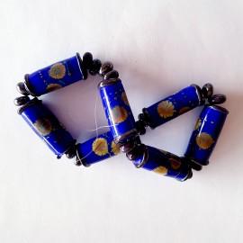 7 perles en verre bleu Roi Style Murano réalisé par Ikuyoglassart