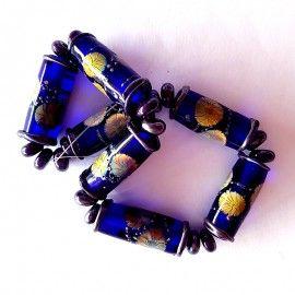 7 perles en verre bleu Violet Style Murano réalisé par Ikuyoglassart