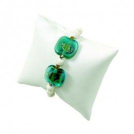 Bracelet  perles de lave et verre de style Murano