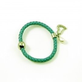Bracelet Cuir Vert Et Perle