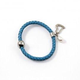 Bracelet Cuir Turquoise Et Perle