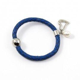 Bracelet Cuir Bleu Et Perle