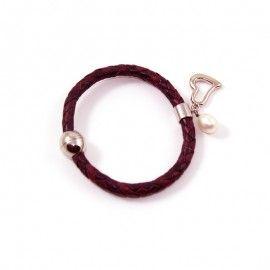 Bracelet Cuir Violine Et Perle