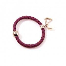 Bracelet Cuir Parme Et Perle