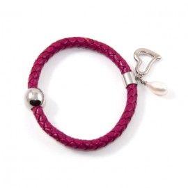 Bracelet Cuir Rose Et Perle