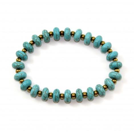 Bracelet pierre de Howlite turquoise