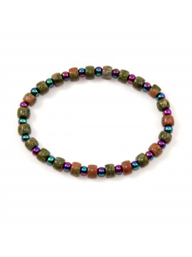 Bracelet Jaspe et Hématite irisée