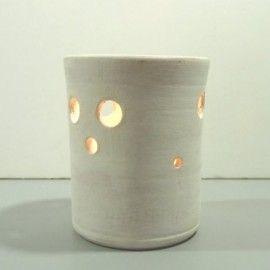 Photophore artisanal blanc