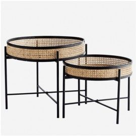 SET DE TABLES BASSES RONDES CANNAGE NATUREL ET NOIR