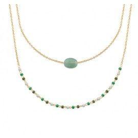 Collier femme, plaqué or, perles de Miyuki & Aventurine verte - Luny