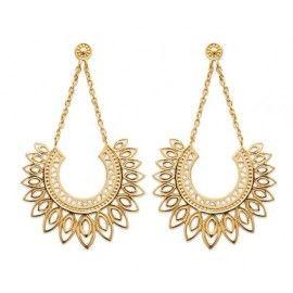 Boucles d'oreilles pendantes orientales en plaqué or, femme - Emy
