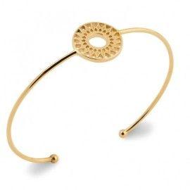Bracelet jonc rigide, motif solaire, pour femme en plaqué or - Dybbi